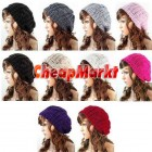 Women Ladies Baggy Beret Chunky Knit Knitted Braided Beanie Hat Ski Cap