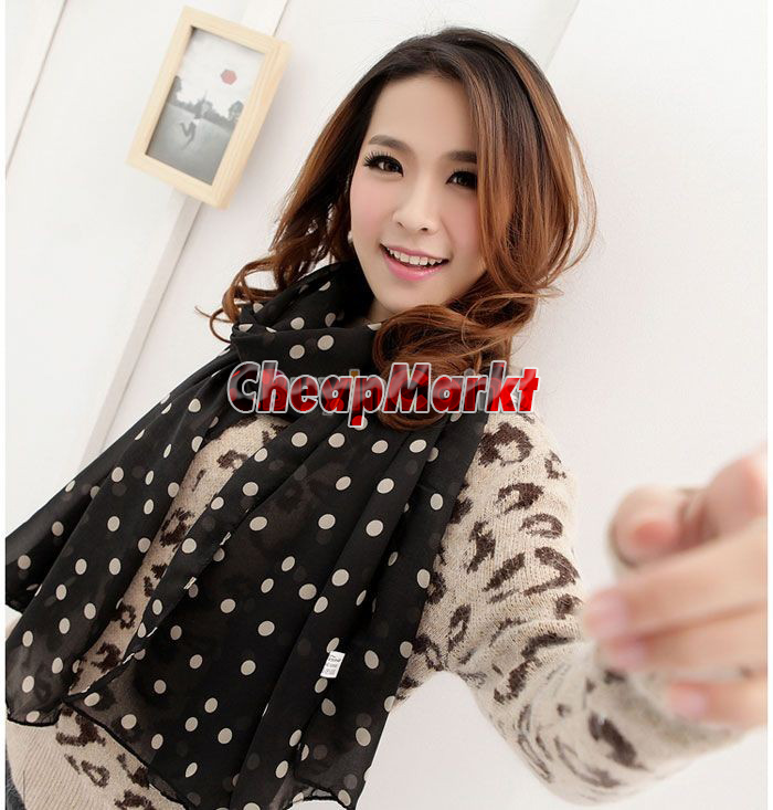 Fashion Women Ladies Chiffon Polka Dot Scarves Shawl Scarf Wrap