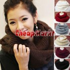 Winter Women Warm Infinity 2 Circle Cable Knit Cowl Neck Long Scarf Shawl 7 Colors