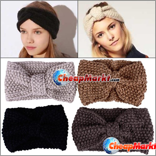 ... Crochet Flower Bow Knit Knitted Headband Headwrap Ear Warmer Hair Band