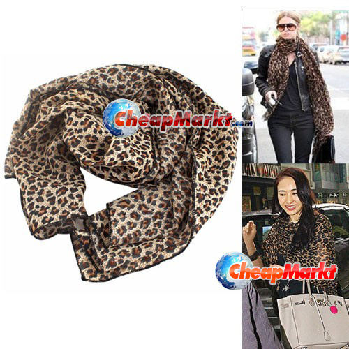Fashion Women Thin Soft Leopard Shawl Scarf Neck Wrap