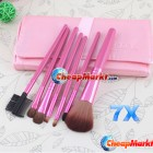Pro 7 Pcs Make Up Brushes Brush With Rose Pink Leather Case Cosmetic Sets Tool Kit