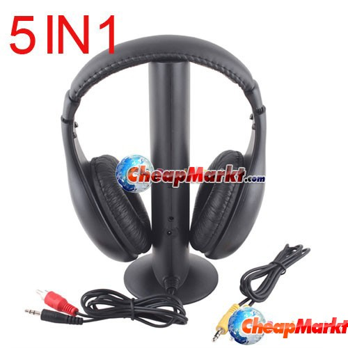 5 in 1 Hi-Fi Wireless Headphone Headset w/Mic for FM TV PC Radio DVD