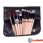 12 PCS Makeup Wood Brush Set Cosmetic Brushes Kit + Roll up Bag