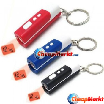 Mini Keychain Projection LED Light Laser Time Digital Gadget Clock Projector