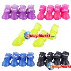 Candy Colors Dog Boots Waterproof Protective Rubber Pet Rain Shoes Booties L