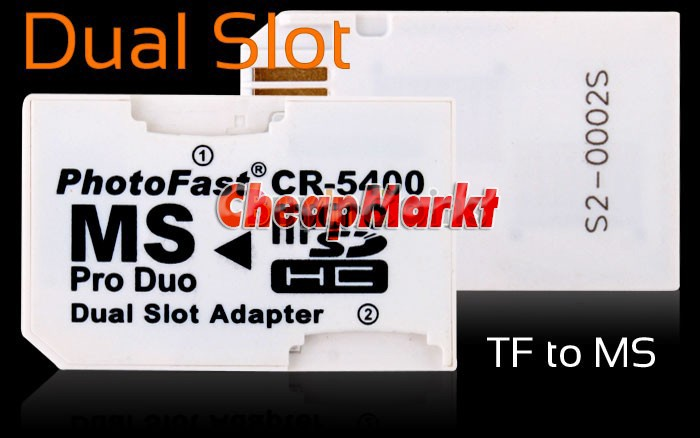Dual Micro SD TF to MS Pro Duo Card Adapter 2 Slot
