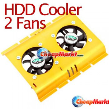 PC SATA IDE 3.5 Hard Disk Drive HDD Cooler 2 Fan