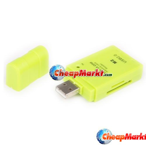 USB MS M2 MMC TF Pro Duo Mini SD Memory Card Reader