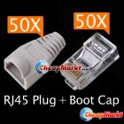 RJ45 Network Modular Plug Cat5 Boot Cap Connector 50 x2