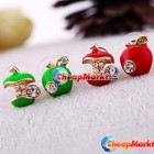 Fashion Sweet Lovely Crystal Rhinestone Apple Core Ear Studs Earrings