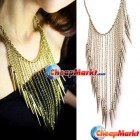 Fashion Gothic Punk Spike Rivet Long Chain Tassel Necklace