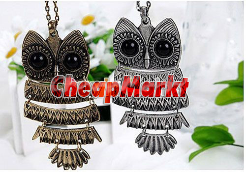 Fashion Charming New Lovely Style Retro Night Owl Pendant Necklace Free Ring