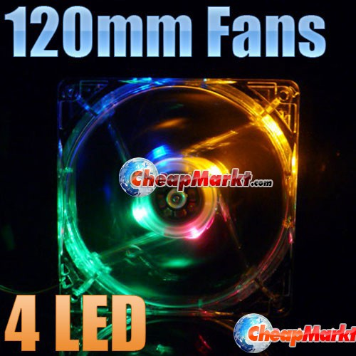 120mm Fans 4 LED Color For Computer PC Case Cooling
