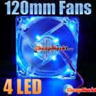 120mm Fans 4 LED Blue for Computer PC Case Cooling