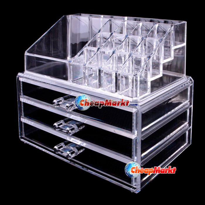 crystal makeup kosmetiske organizer box l bestift smykker. Black Bedroom Furniture Sets. Home Design Ideas