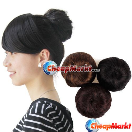 Ladies Women Fashion Clip-on Synthetic Elastic Contract Dish Hair Bun Tail Wigs