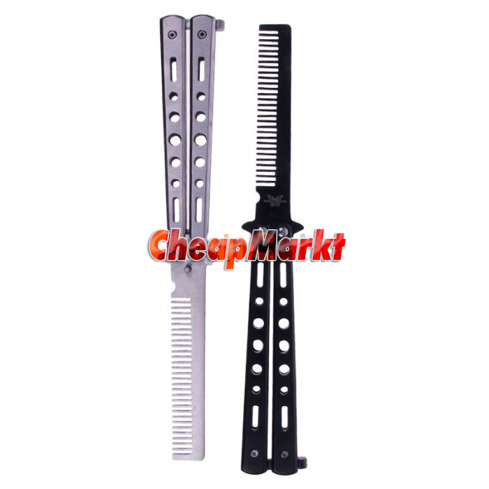 Practice Stainless Steel Metal Butterfly Training Balisong Style Knife Comb