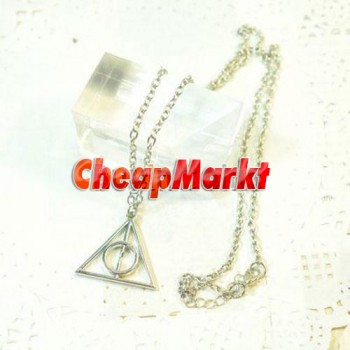 2pcs Nee Jewelry Silver Tone The Deathly Hallows Triangle Charm Pendant Chain Necklaces