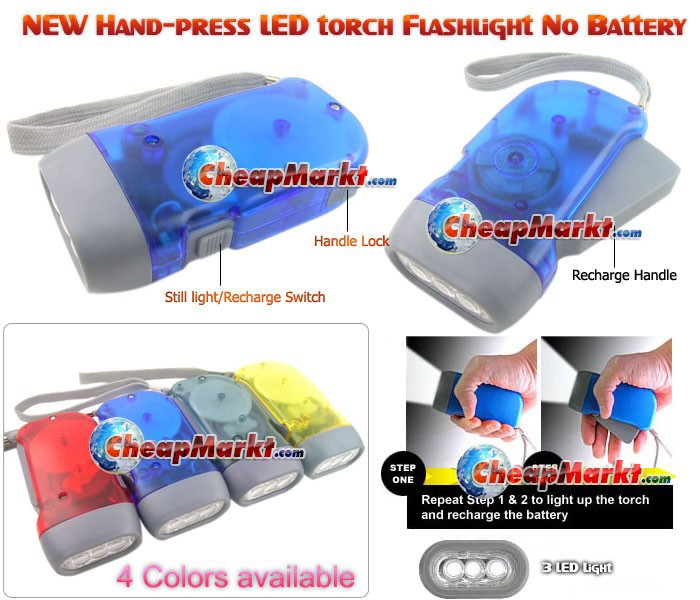 Hand Press LED Torch Flashlight (No Battery needed)