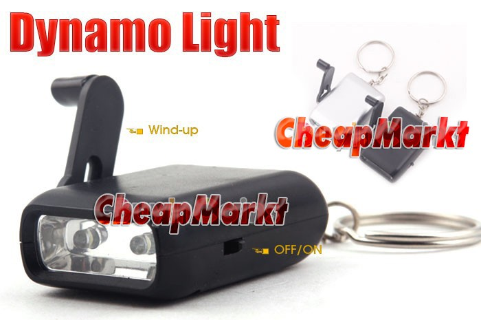Mini Dynamo Wind-up KeyChain 2-LED Torch Flashlight