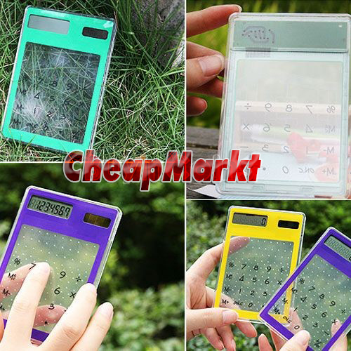 8 Digit LCD Touch Screen Promotions Solar Electronic Transparent Calculator