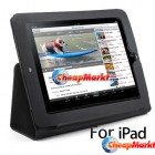 Black Flip Stand Leather Pouch Case Cover for Apple iPad