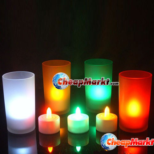 LED Electronic Candlelight Wedding Party Candle 7 Color Change Flicker Sensor