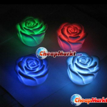 Changing 7 Color LED Rose Flower Party Candle Light
