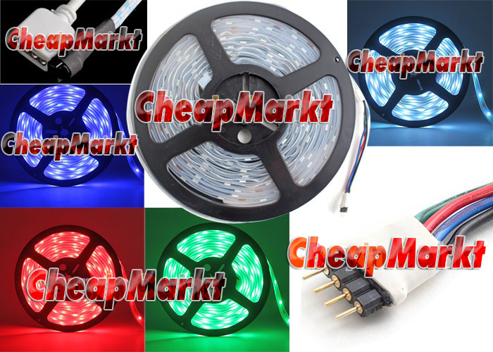 16FT 5M 12V Flexible RGB LED Strip Light 5050 Remote Car Auto Decoration Light