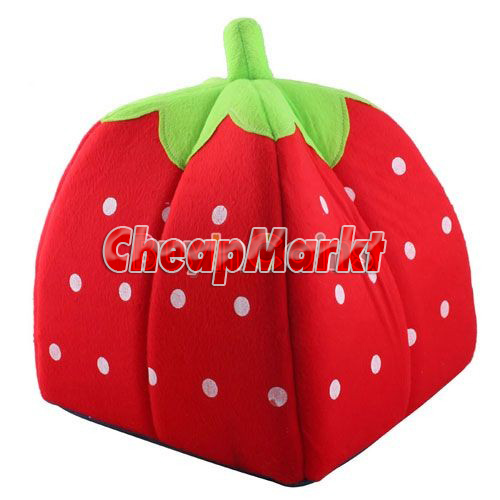 Cute Lovely Soft Super Cool Sponge Strawberry Pet Cat Dog House Bed Size