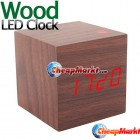 Modern Wood Desktop Digital LED Alarm Clock Brown Color