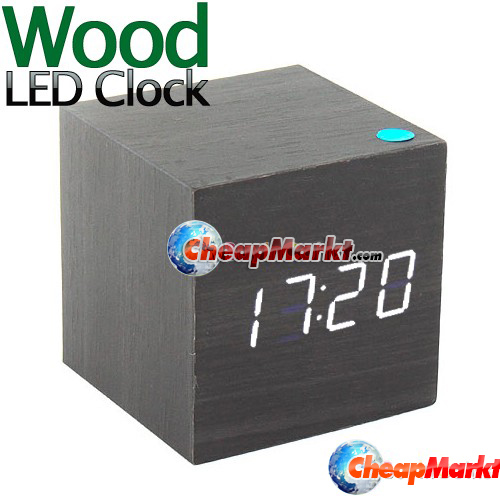 Modern Wood Desktop Digital LED Alarm Clock Black Color