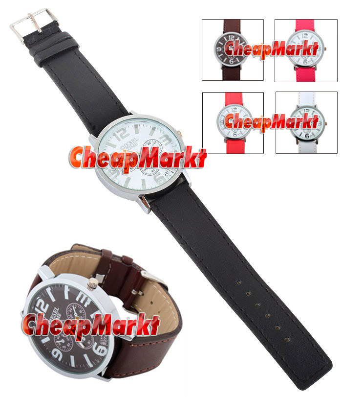 Men/Women 4.5CM Round Shape 4 Dial Watch PU Leather