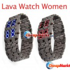 LED Digital Watch Lava Iron Metal Sports Women Red/Blue