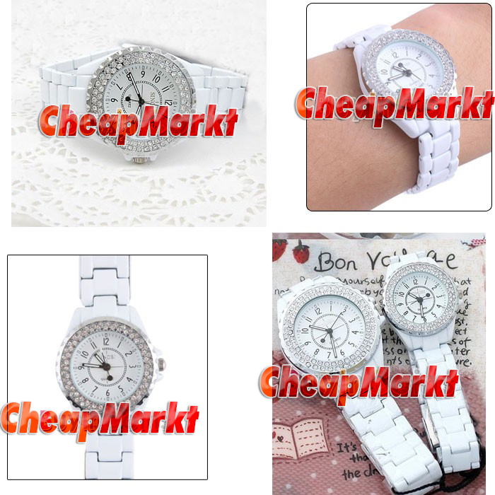 Luxury White Band Women Lady Crystal Quartz Wrist Watch