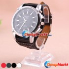 Stainless Steel Back PU Leather Band Women Lady Analog Wrist Watch Best Gift