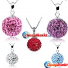Fashion Shamballa Multi Color 10MM Crystal Ball Necklace Pendant