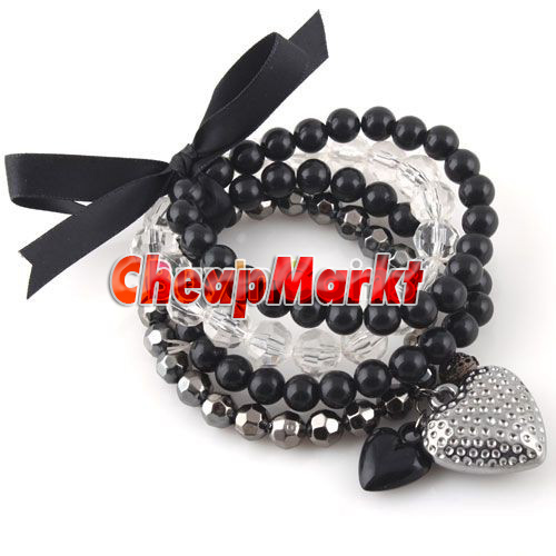 Fashion Lady Cute Nice Charm Multiple Bead Bow Knot Heart Bangle Bracelet Chain