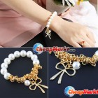 Fashion Exquisite Cute Lovely Charm Imitation Pearl Bowknot Bangle Bracelet
