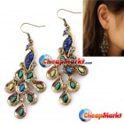 Pair Cute Colorful Women's Retro Blue Prancing Peacock Earrings Hook Clips