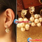 Fashion Gold Plated Imitate Pearl Crystal Dangle Ball Earrings