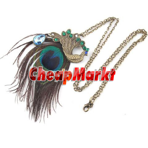 Fashion Shiny Style Unique Nice Gorgeous Blue Eyes Peacock Long Feather Necklace