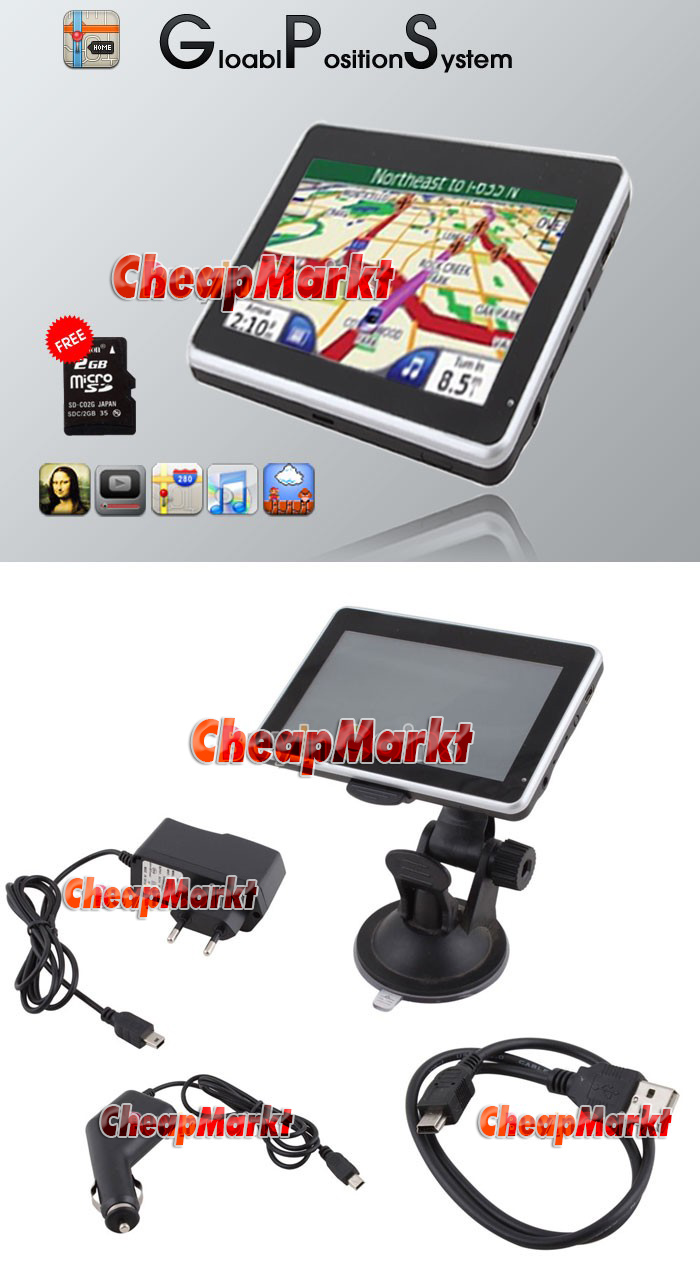 "Slim 4.3"" 4GB Touch Screen Car GPS Navigation + 2GB SD Card"