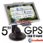 "Slim 5"" 4GB LCD GPS Navigation MP3 MP4 FM Transmitter + 2GB SD Card"