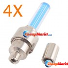 4 X Motor Bike Car Tyre Tire Valve Wheel LED Light Blue