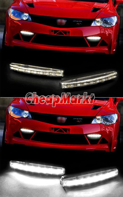 Car Daytime Running Light 8 LED DRL Daylight Kit Super White 12V DC Head Lamp