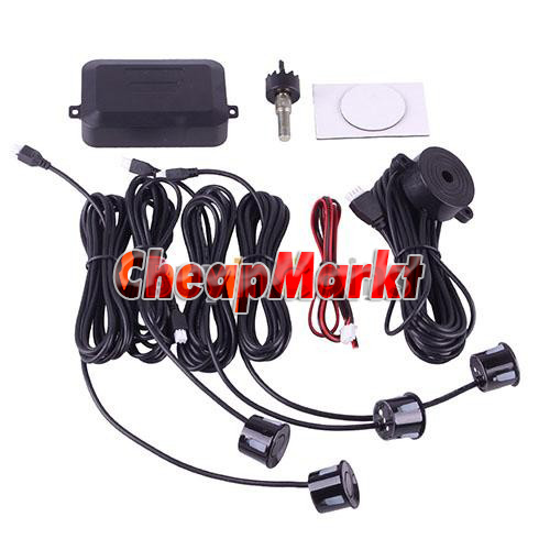 Car Reverse Backup Radar System Kit 4 Parking Sensors Sound Alert Alarm