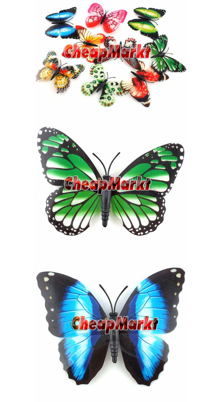 10Pcs Curtain Home Fridge Decor Butterfly Shape Sticker Pin Glow in the Dark Ornament
