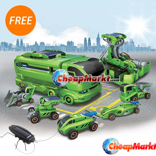 7 in 1 Rechargeable Solar Power Car Funny Disassembly Birthday Toy Kit + Solar Power Cockroach